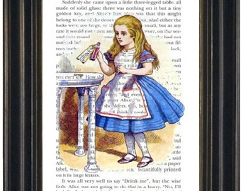 Alice in Wonderland Book Print Drink Me Fandom Wall Art Wonderland Book Page Print Wonderland Art