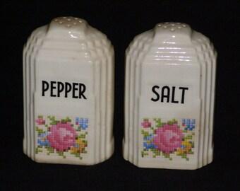 Art Deco Building Salt and Pepper Shakers Circa 1980s