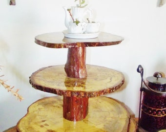 Professional Cake Cupcake Stand Spalted Pecan 3 Tier With Cedar Feet Sealed Food