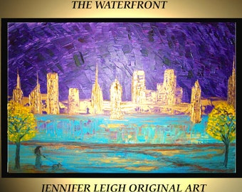Original Large Abstract Painting Modern Contemporary Canvas Art Turquoise Gold Purple THE WATERFRONT 36x24 Palette Knife Texture Oil J.LEIGH
