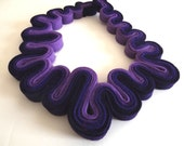 Statement Necklace Felt Necklace Felted Jewelry Recycled Eco Friendly Felt Bib Necklace In Ombre Purple