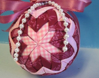 Quilted Christmas Fabric Ball ornament pink fabric with pink ribbon bow ooak