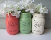 Painted and Distressed Ball Mason Jars- Mint Green, Coral and Cream/White/Ivory-Set of 3-Flower Vases, Rustic Wedding, Centerpieces