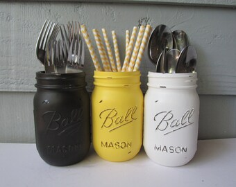 BUMBLE BEE-Painted and Distressed Ball Mason Jars- Bright Yellow, Black and White Flower Vases, Rustic Wedding, Centerpieces