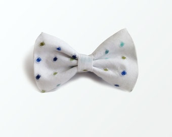 Bow Tie for Men,  Blue and Forest Green Polka Dots Men's Pre Tied Bow Tie, Wedding and GIft /READY TO SHIP
