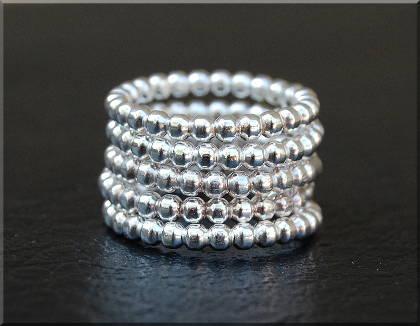 beaded sterling silver ring stack statement cocktail ring