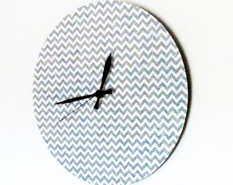 Unique Wall Clock, Glitter Wall Clock, Silver Chevron, Decor and Housewares, Home Decor, Home and Living, Wall Clocks, Housewarming Gift