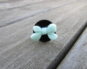 The Blue Bow To My Black Button *Ring (Adjustable)