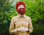 Lumbersexual crochet set of female hat and beard, ginger red, crochet, autumn fall winter fun accessory for woman, humorous, halloween prop