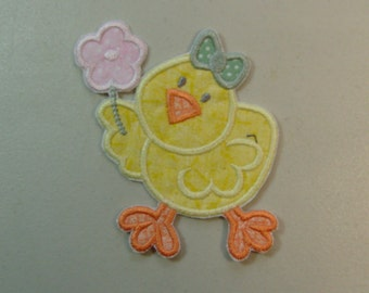 Chick iron on or sew on applique patch