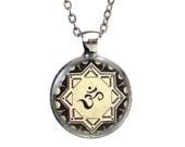 OM Pendant Necklace Silver Yoga Necklace