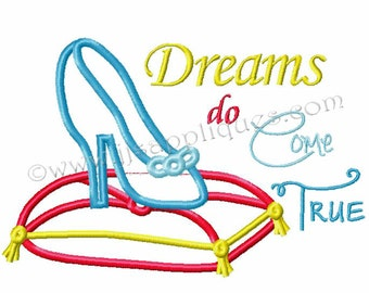 Instant Download - Princess Embroidery Applique Design - Dreams do Come True with Princess Slipper on Pillow 4x4, 5x7, 6x10 hoops