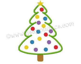 Instant Download - Christmas Embroidery Applique Designs - Decorated Christmas Tree Applique Design 4x4, 5x7, and 6x10 hoop sizes