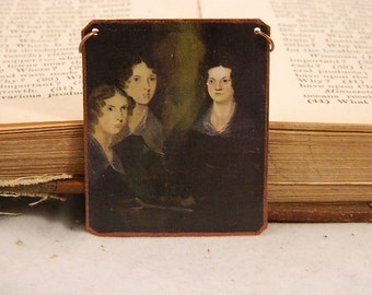 Bronte Sisters necklace Literature jewelry feminist mixed media jewelry