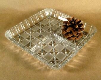 Vintage Glass Relish Dish Tray