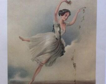 Ballet dancer vintage print Romantic ballet Eoline Ou La Dryade Dancing illustration ballerina Lucile Grahn