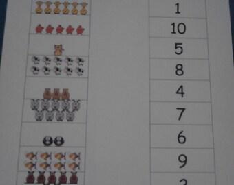 Numbers & Counting Dry Erase/Laminated Sheet - Centers, Homeschool, Kids Educational, Preschool Learning, Preschool Math, Montessori