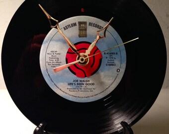 "Recycled JOE WALSH 7"" Record / Life's Been Good / Record Clock"