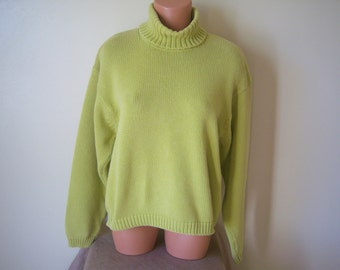 Ladies Vintage Knitted Sweater, Turtle Neck Pullover Sweater, Jeanne Pierre, 100% Cotton, 1980's, Size Large, Made In Thailand