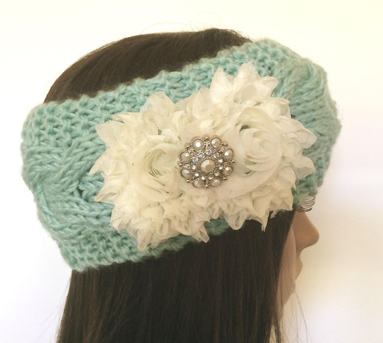 Mint Green Cable Knit Ear Warmer Headband Head Wrap Winter