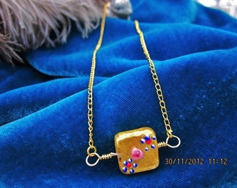 Rich gold dipped murano glass bead necklace 24k w 18k gp chain