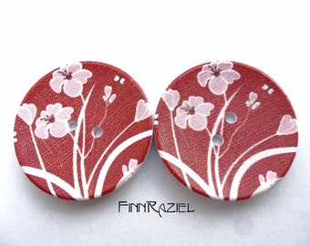 2 giant buttons flowered dark red Ø40mm for jacket or coat