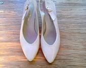 Vintage Italian Gina Morganti White Heels  size 8 1/2