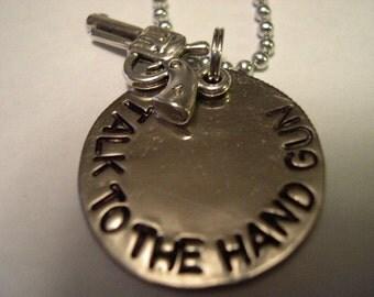 Hand Stamped Metal Necklace, Metal Jewelry, Stamped Metal - N53