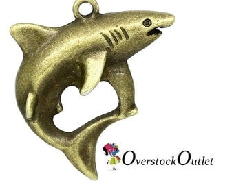 4 Great White Shark Bronze Charms AH301