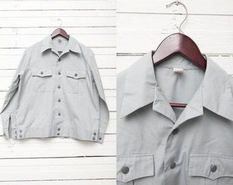 1970's Vintage Grey Button Up Jacket / Men Summer Jacket / Size M