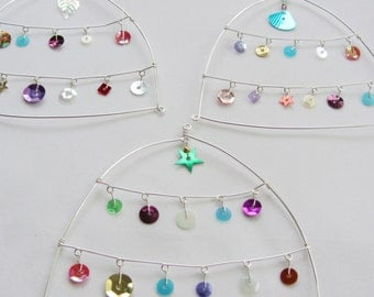 Silver plated wire and multi coloured sequin home ornament / sparkly wedding decor - SINGLE listing