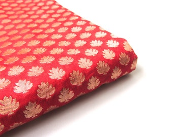 Red gold brocade. gold red silk. India silk fabric. christmas fabric. Golden flowers on red fabric nr 97 fat quarter