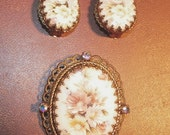 Demi Parure Gold Filigree Floral Rhinestone Earrings and Brooch West Germany