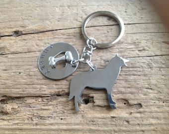One Siberian Husky Custom Keychain Dog Lover