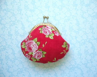 Red Rose small clutch Coin Purse - Made from Tilda fabric - Handmade Gift, Wedding Gift