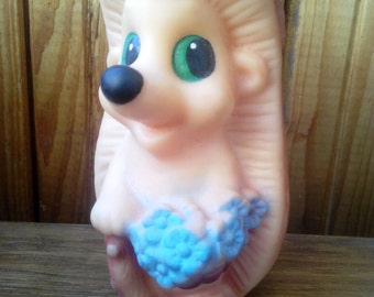 Very rare vintage rubber toy - crew cut with flowers, a character of Soviet children's cartoon. Made in the USSR