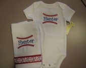 Personalized Baby Boy Embroidered Onesie and Burp Cloth