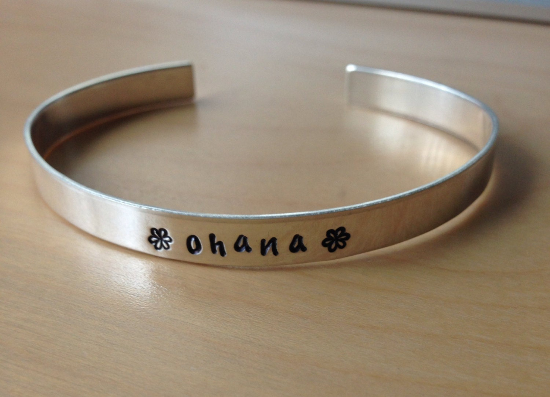 "Sterling Silver Hand Stamped ""ohana"" Cuff Bracelet"