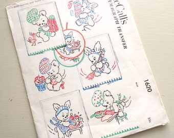 UNUSED vintage mccalls kaumagraph transfer 1620 -- baby bunnies and teddy bears