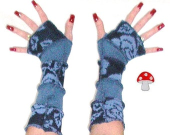 """Arm Warmers DEPOSIT Special Order """"Blue Rose"""" Patchwork Fingerless Gloves Eco Friendly Warmies Recycled Upcycled Sweater Steampunk Fashion"""