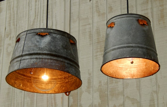 Pictures Of Hanging Light Fixtures: Pair Hanging Industrial Pendant Lights Chick Or Quail Feeder