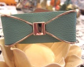 Tiffany Leather Bow Cuff Bracelet Tiffany Blue and Pale Pink