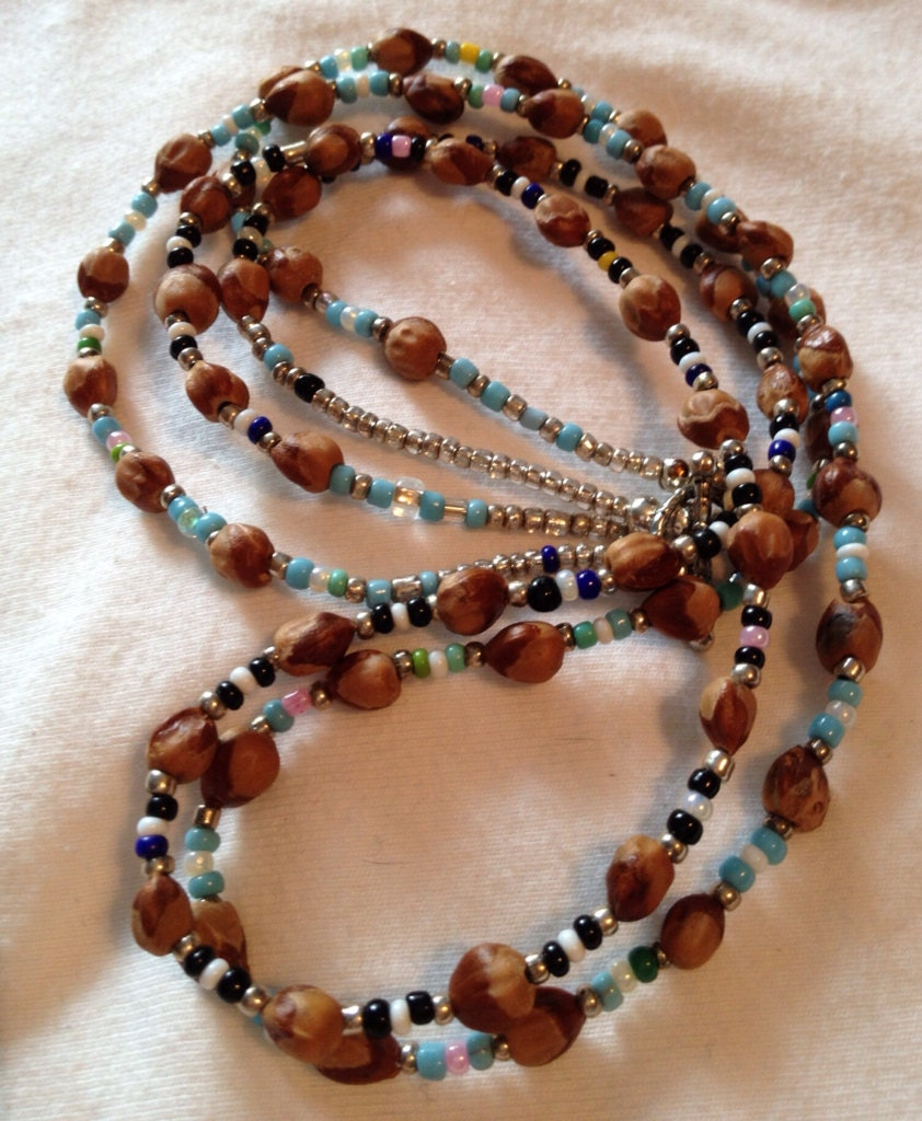 Southwest jewelry natural cedar berry ghost bead w glass seed for Natural seeds for jewelry making