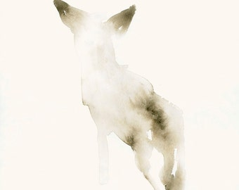 Dog Art Print from Original Watercolor Snow