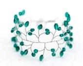 61_Emerald bracelet, Green bracelet, Crystal bracelet, Silver bracelet, Wedding bracelet, Wedding jewelry, Delicate bracelet, For bride