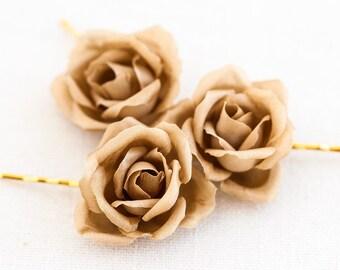 71_Gold roses, Hair flowers pins, Flower clips, Flower barrette, Hair accessories, Rose hair pins, Rose Hair clips wedding Wedding accessory
