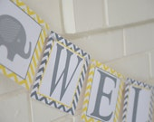 Welcome Baby banner, elephant baby shower, yellow grey, elephant accent