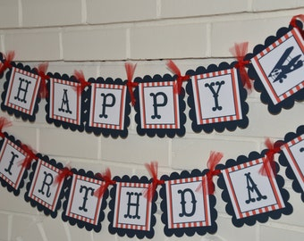 Airplane happy birthday banner-red and navy