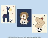 Soccer nursery art, nursery decor boy, boy nursery art, safari animals, navy blue red, lion, giraffe,elephant, navy blue nursery,animals art