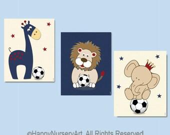Soccer nursery art, nursery decor boy, boy nursery art, safari animals, navy blue red, lion, giraffe,elephant, navy blue nursery,animals art